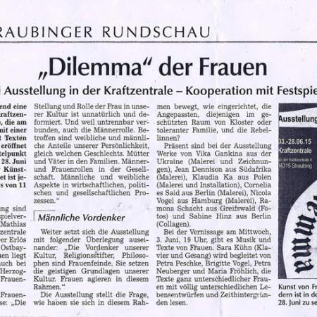 """""""Dilemma"""" der Frauen: Straubinger Rundschau 30.05.2015"""