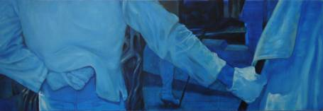 RESET: FLAGS by cornelia es said. Oil on canvas, 120 x 40 cm