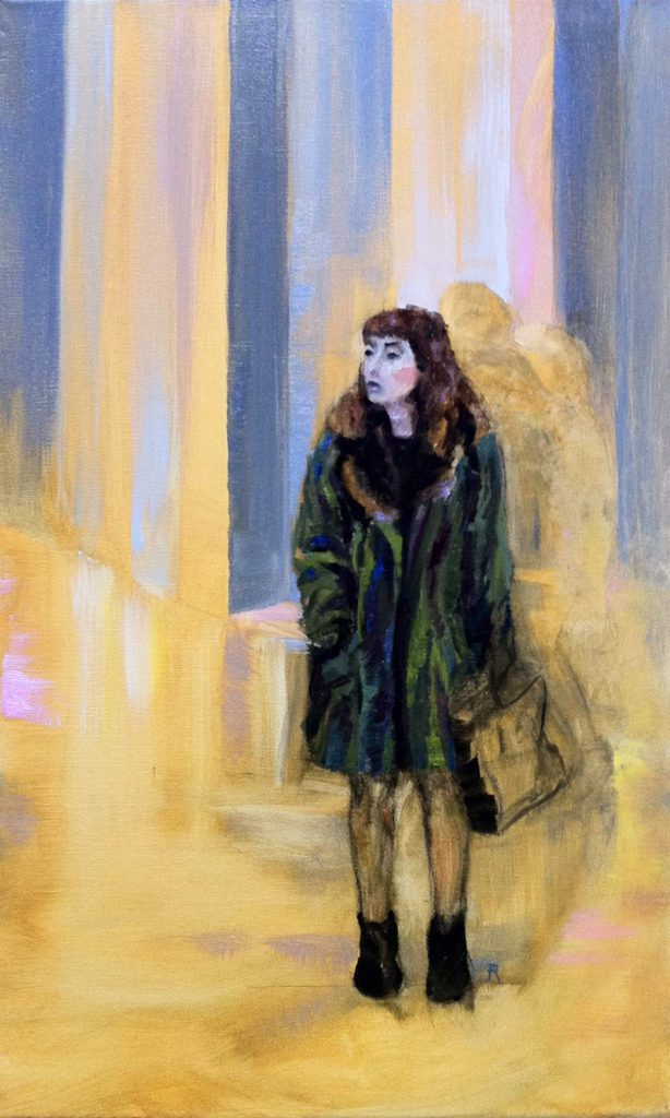 waiting (at the gallery) fine art oil painting by cornelia es said . krautart