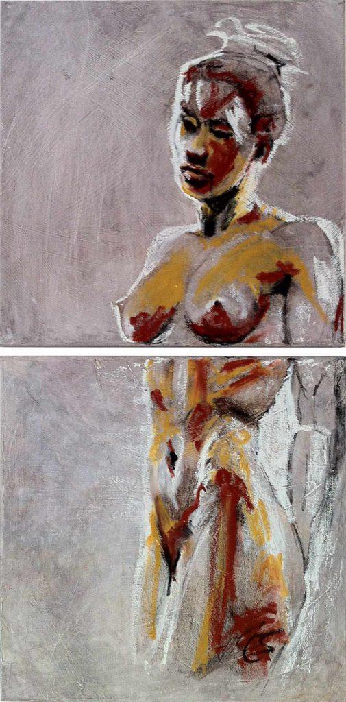 Nubia - modernes Diptychon Ölmalerei | modern diptych oilpainting by cornelia es said