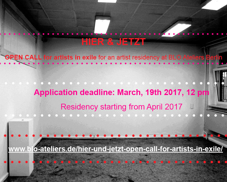 OPEN CALL to Exile Artists: free Residency in Berlin! Apply now!