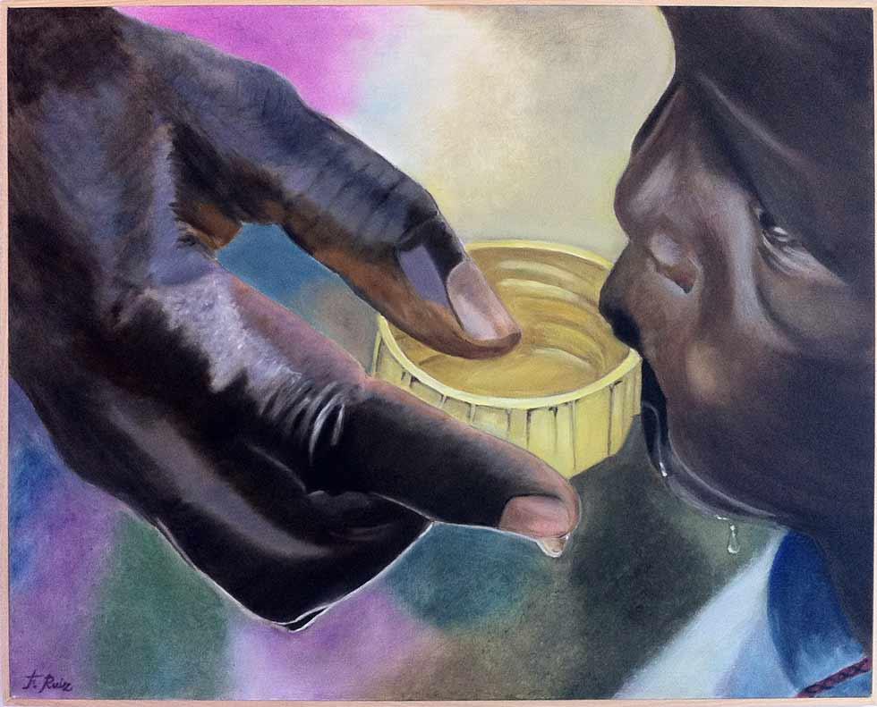Francisco Ruiz Torralbo: El agua un derecho humano, Öl / Leinwand
