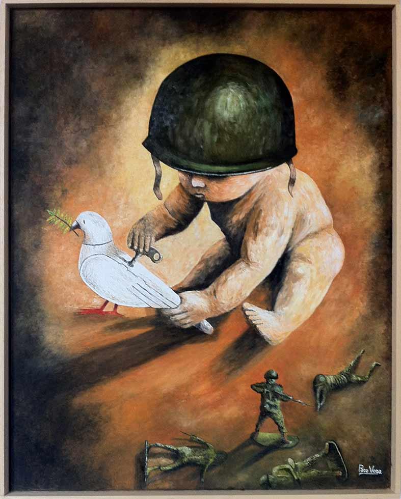 Francisco Vega Roda: Infancia por la paz. No mas guerra, Öl / Leinwand