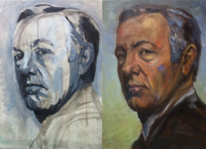 Process documentation – portrait of Kevin Spacey, painting process