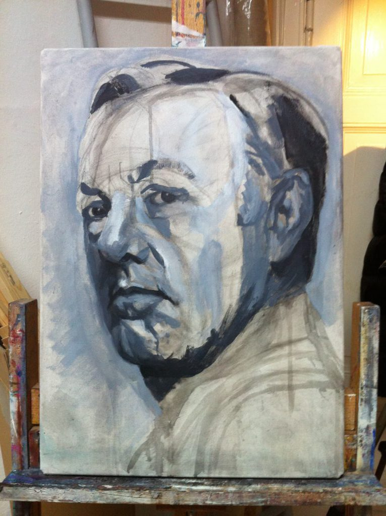 Kevin Spacey portrait, painting process step 1