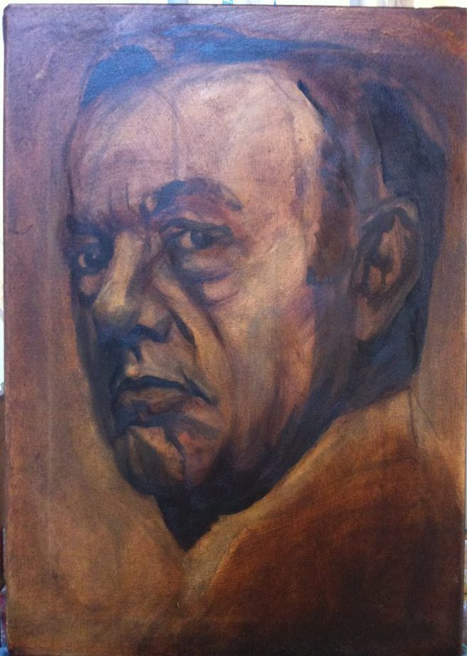 Kevin Spacey portrait, painting process step 2