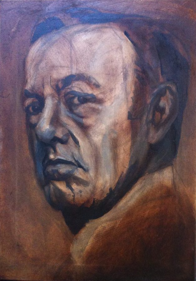 Kevin Spacey portrait, painting process step 3