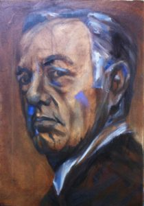 Kevin Spacey portrait, painting process step 5
