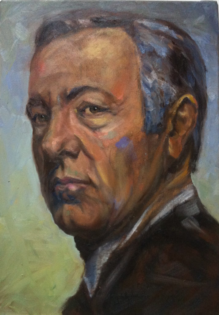Kevin Spacey portrait, painting process step 8