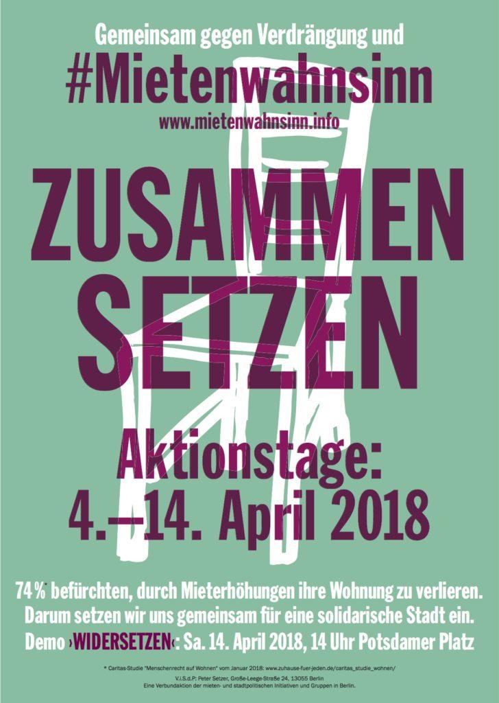 Demo Berlin Mietenwahnsinn 2018 Aktionstage Plakat zum Selberdrucken DINA4
