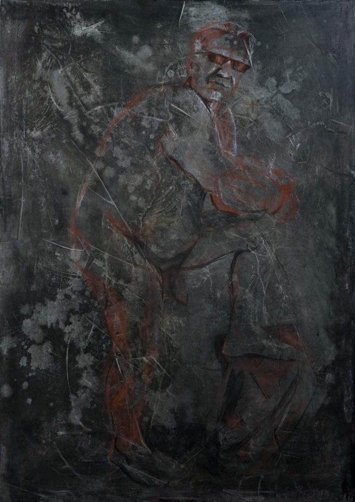 Cornelia Es Said - Der Mann aus dem Nordkiez, Kohle, Rötel und Kreide auf Sperrholz, 83x118cm