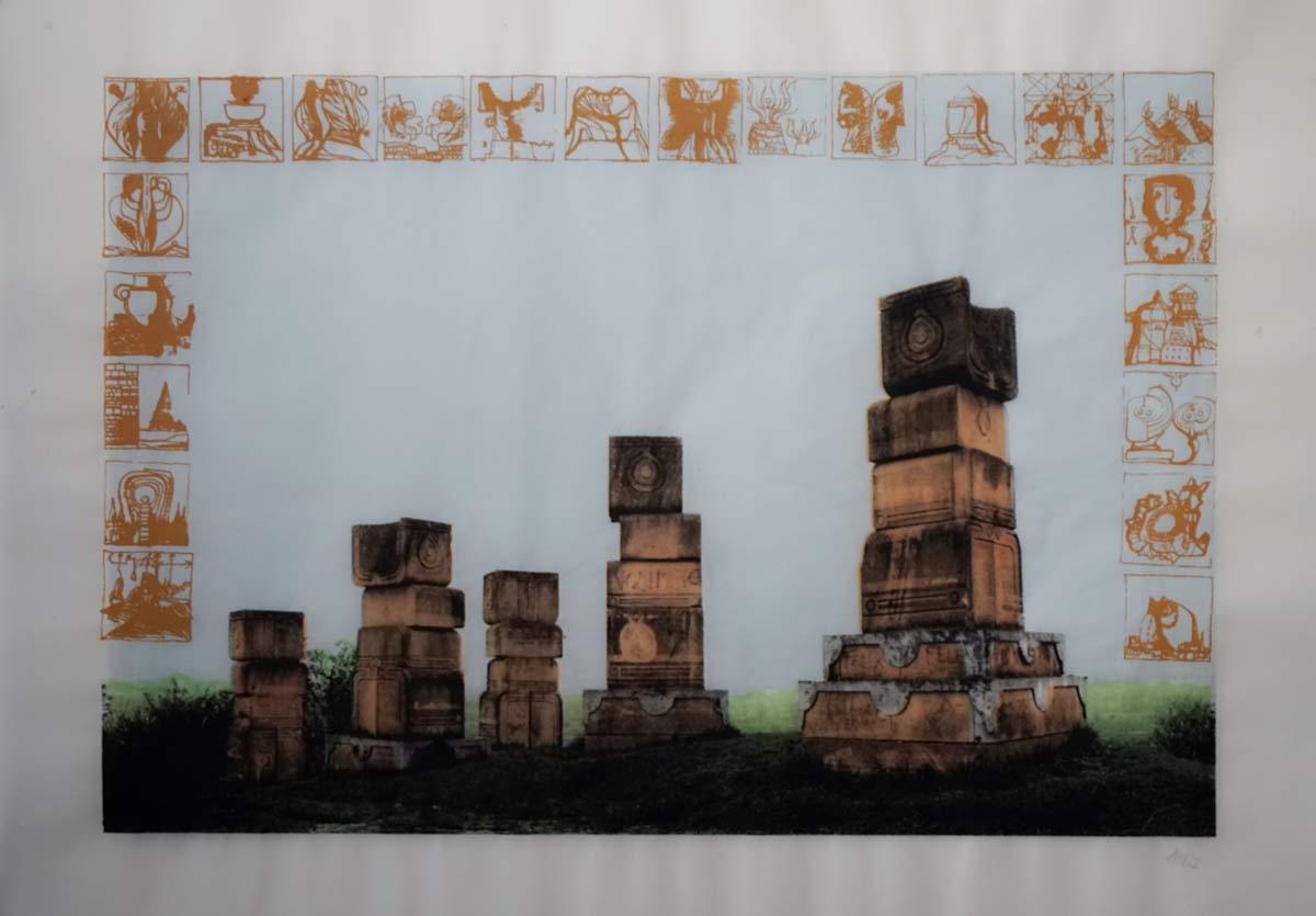 Marko Krojac - Siebdruck 5 Farben auf Transparentpapier, 90x64 cn