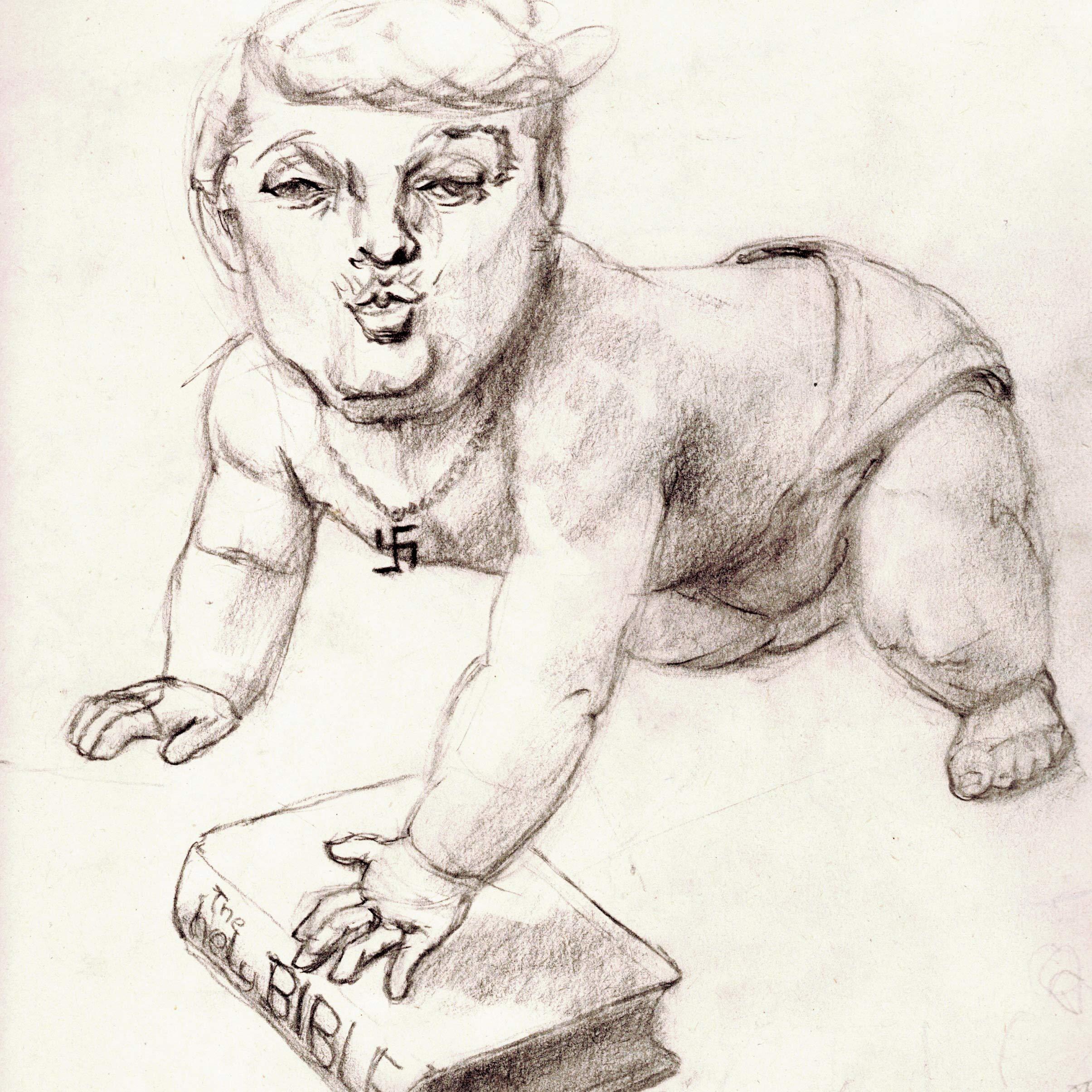 shame, shame on Trump - charcoal-drawing by cornelia es said