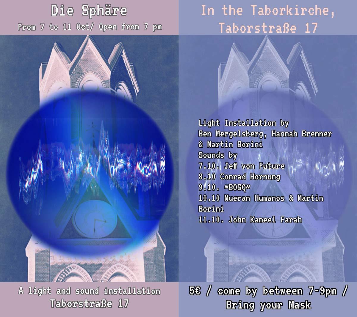 Die Sphäre: Licht und Klanginstallation – Ausstellung in der Taborkirche