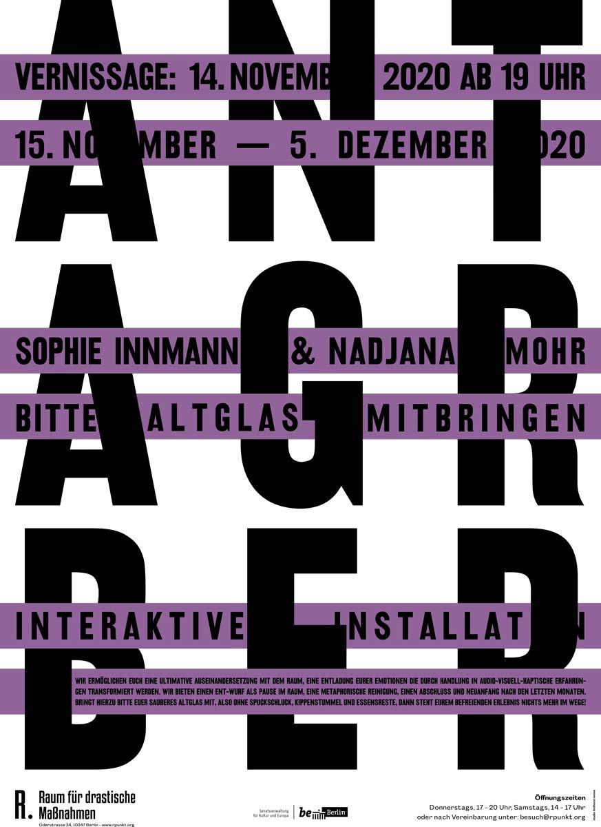 Interaktive Installation im Raum für drastische Maßnahmen ab 14.11.20