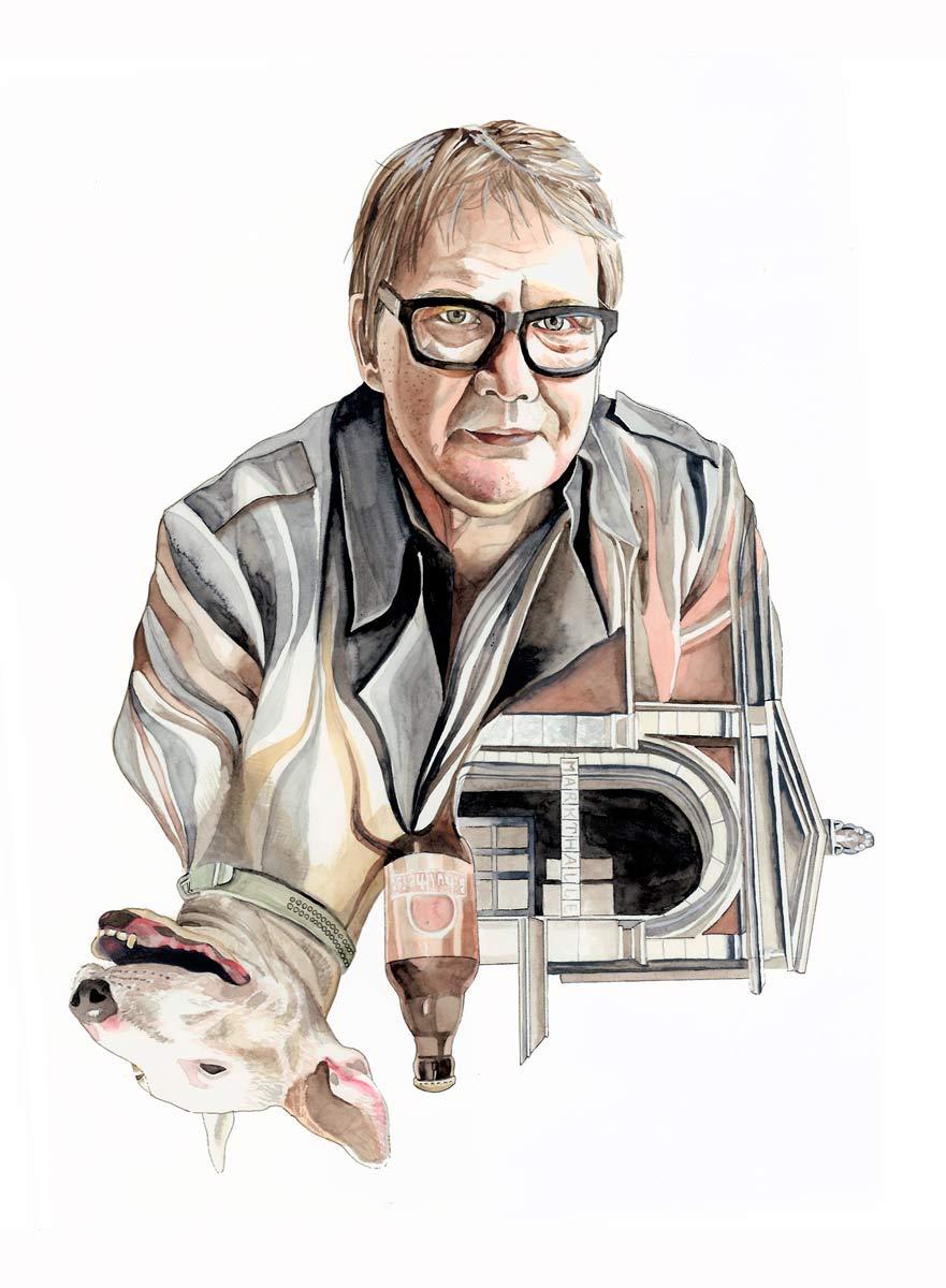 Sven Regener - watercolor painting by Anni Heuchel