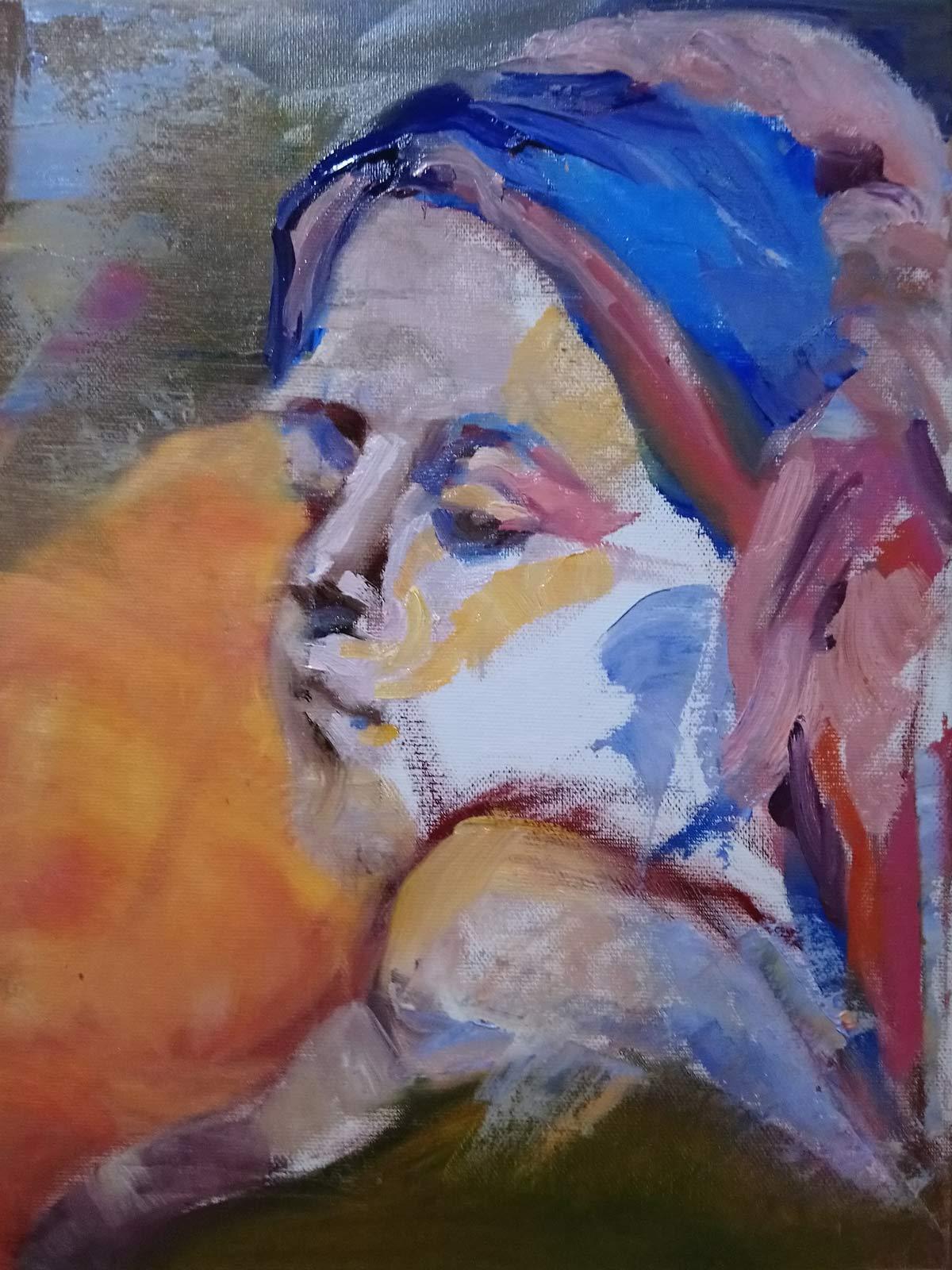 untitled bust 1 by cornelia es said 2021, oil on canvas, 30x40 cm es said